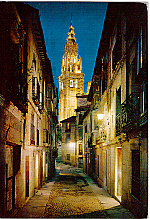 Typical Street and Cathedral's Tower, Toledo, Spain (Image1)