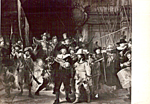 The NIght Watch Rembrandt B/W Postcard cs5885 (Image1)