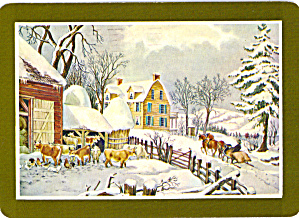 Reproduction of Currier and Ives Winter Morning Postcard cs6001 (Image1)