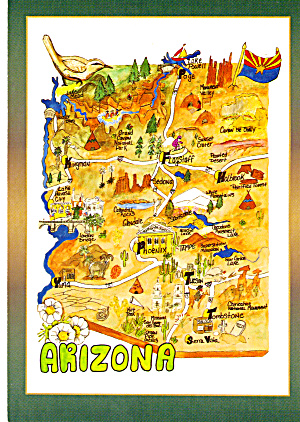 State Map Of Arzona Postcard Cs6011