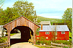 Kelly River Covered Bridge Waterville Vermont Postcard Cs6115