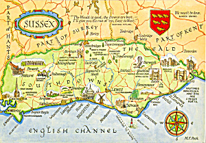 Map of Suffix England Postcard (Image1)