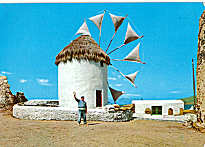 Mykonos - Welcome-windmill, Greek Postcard