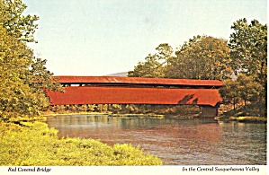 Red Covered Bridge Over Penns Creek, Pa Postcard Cs6961
