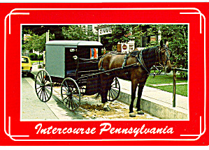 Amish Carriage at Hitching Post,Intercourse, PA cs6973 (Image1)