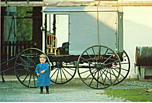 Amish Child With Buggy Postcard cs7031 (Image1)