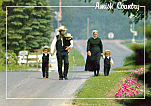 Amish Family Strolling on Country Road cs7042 (Image1)