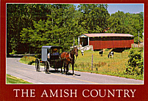 Covered Bridge and Amish Buggy, Pennsylvania (Image1)