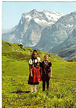 Children In Native Costumes Swiss Alps Cs7093