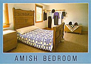 Quilt in Amish Bedroom Postcard cs7128 (Image1)