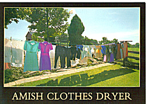 Amish Clothes Dryer Postcard cs7153 (Image1)