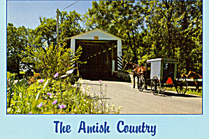 Covered Bridge and Amish Buggy in PA Postcard cs7156 (Image1)