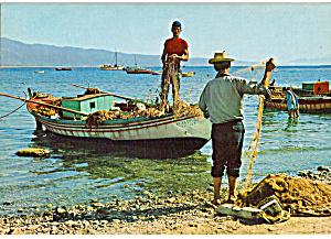 Fishing Boats Men Working with Nets Greece cs7188 (Image1)