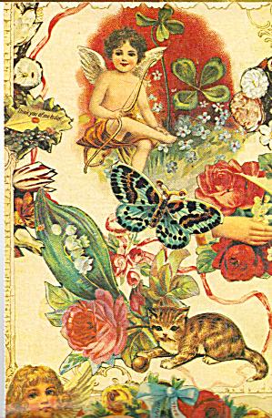 Cherubs,Butterfly Cat and Flowers Postcard cs7208 (Image1)