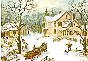 Horse Drawn Wagon on Runners bringing in the  Tree (Image1)