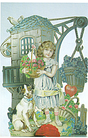 Girl with basket of flowers and dog (Image1)