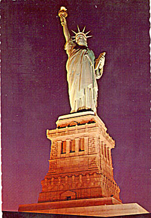 Statue Of Liberty On Pedestal Illuminated New York Harbor Cs7511