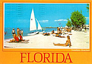 Sail Boat and Beach Scene in  Florida cs7666 (Image1)