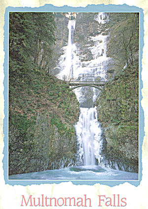 Multnomah Falls Oregon in Winter Postcard cs7712 (Image1)