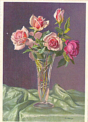 Bouquet of Roses in Vase, Signed H. Werner (Image1)