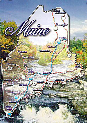 Maine State Map Postcard Cs7798