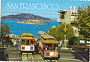 Hyde Street Cable Cars Bay Alcatraz San Francisco Ca Cs7866