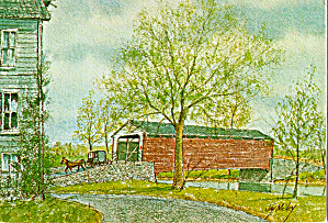 Kissing Bridge, Covered Bridge from a Watercolor by Jay McVey (Image1)