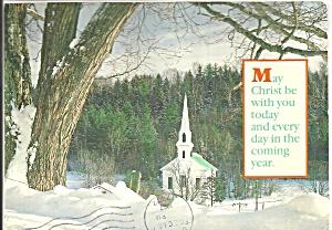 New England Church Scene with Exodus 33:14 on Reverse cs8513 (Image1)