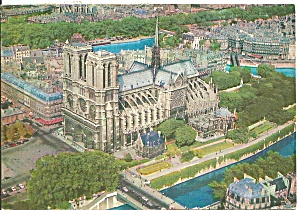 Paris, France, Aerial View Of Nortre Dame