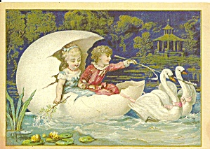 Children in Egg Boat Pulled by Swans Postcard cs9103 (Image1)