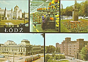 Lodz Poland Five Views Streetcars