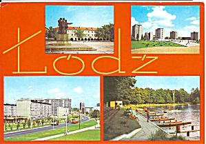 Lodz Poland Four Views Buildings,lake
