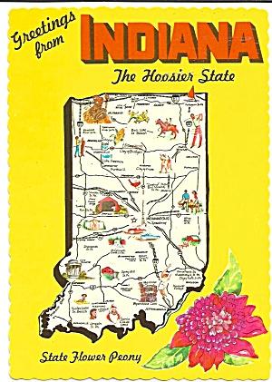 Indiana Map Multiview Postcard N0189 on washington state map postcard, indiana state park campground maps, ohio state map postcard, indiana united states map,