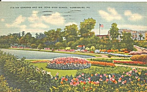 Harrisburg PA Italian Gardens and High School  cs9498 1950 (Image1)