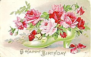 Happy Birthday Postcard   with Roses, Embossed cs9590 (Image1)