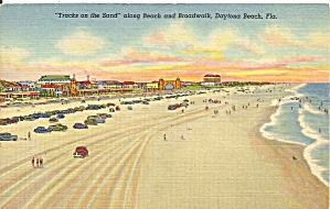 Daytona Beach FL Cars on the Beach Postcard cs9659 1939 (Image1)