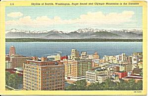 Seattle WA Skyline Puget Sound Olympic Mts cs9683 1942 (Image1)