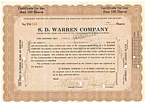 S.D. Warren Company Stock Certificate 1929 d1835 (Image1)