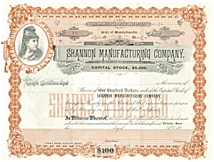 Shannon Manufacturing Company Blank Stock Certificate d1836 (Image1)
