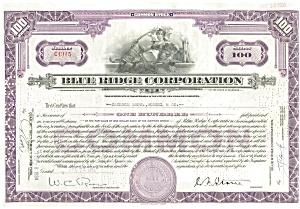 Blue Ridge Corp Stock Certificate 1934 d1838 (Image1)