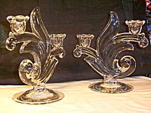 Duncan and Miller Canterbury Two Light Crystal Candlesticks Pr. (Image1)