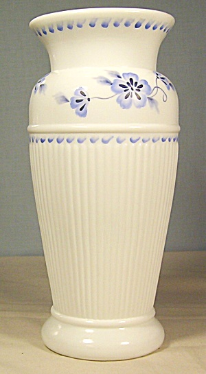 Fenton 9 1/4 in.True Blue On Milk Glass Vase ca.2005 (Image1)