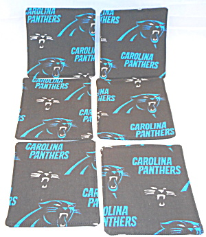 Carolina Panthers Drink Coasters Fabric Set of Six (Image1)