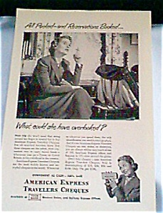 American Express Traveler Checks Ad  1940s (Image1)