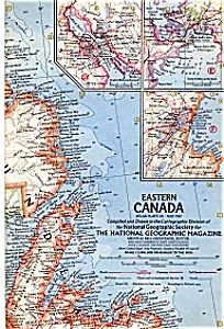 National Geographic Map,eastern Canada,1967