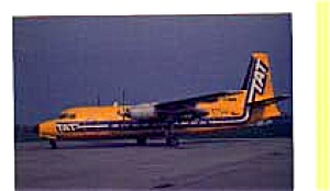 T A T Fokker F-27 Airline Postcard feb3261 (Image1)