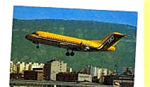 Tat Fokker F-28 Airline Postcard Feb3264