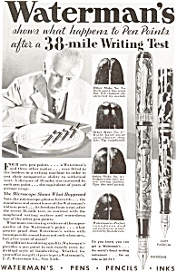 Waterman's Pens Pencils Inks Ad 1932 (Image1)