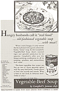 Campbell's Vegetable Beef Soup Ad 1932