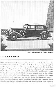 1934 Lincoln Two Window Town Sedan Ad jan1991 (Image1)